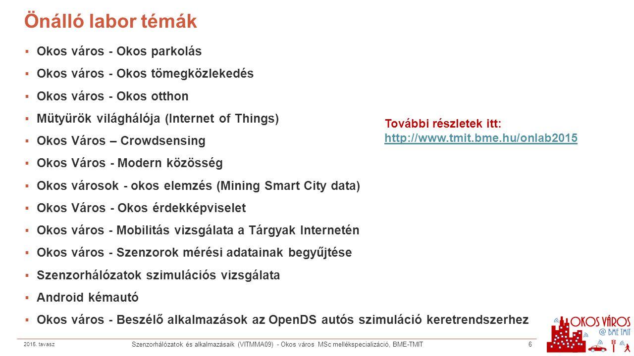 Önálló labor témák ▪Okos város - Okos parkolás ▪Okos város - Okos tömegközlekedés ▪Okos város - Okos otthon ▪Mütyürök világhálója (Internet of Things)