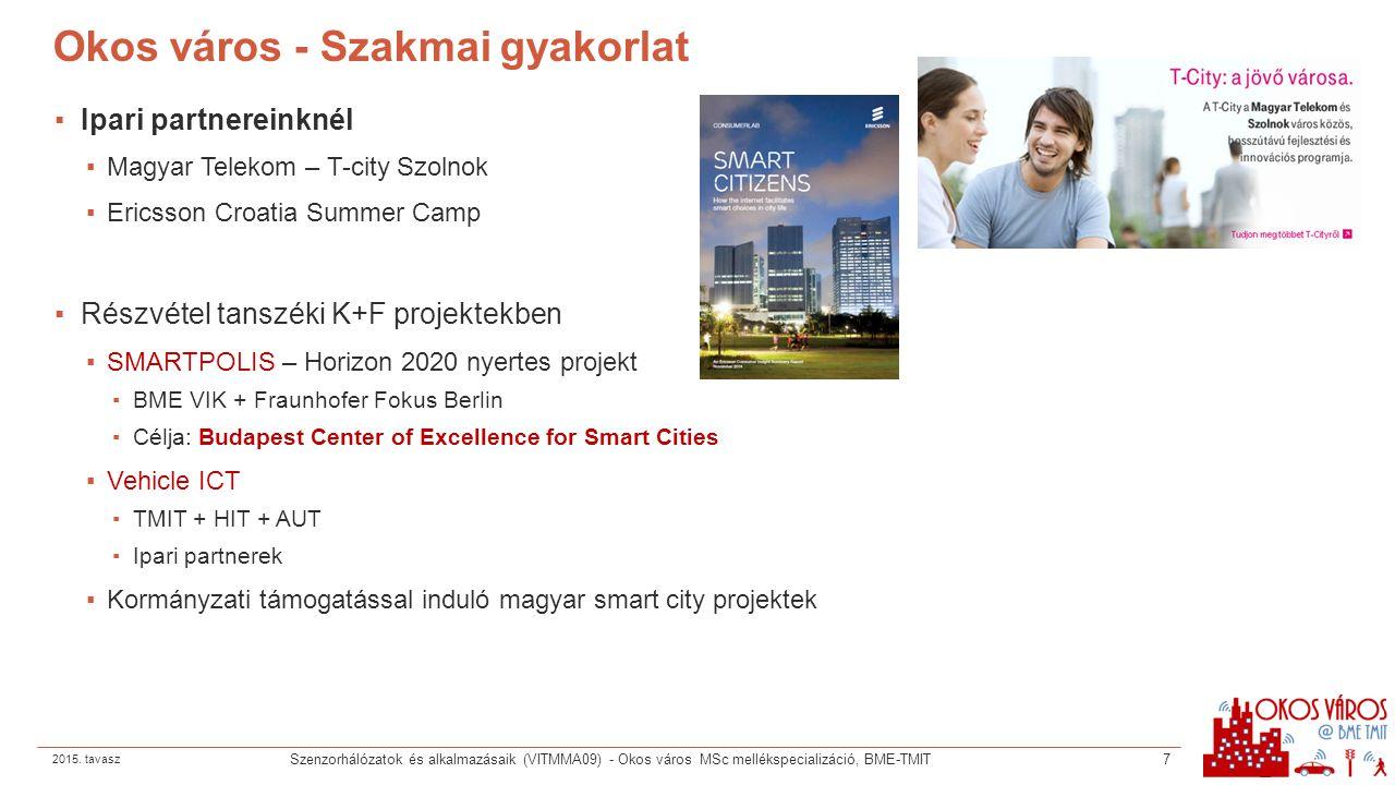 Okos város - Szakmai gyakorlat ▪Ipari partnereinknél ▪Magyar Telekom – T-city Szolnok ▪Ericsson Croatia Summer Camp ▪Részvétel tanszéki K+F projektekb