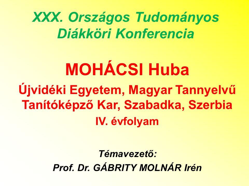 XXX. Országos Tudományos Diákköri Konferencia MOHÁCSI Huba Újvidéki Egyetem, Magyar Tannyelvű Tanítóképző Kar, Szabadka, Szerbia IV. évfolyam Témaveze