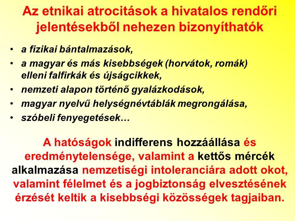 Az etnikai atrocitások a hivatalos rendőri jelentésekből nehezen bizonyíthatók a fizikai bántalmazások, a magyar és más kisebbségek (horvátok, romák)