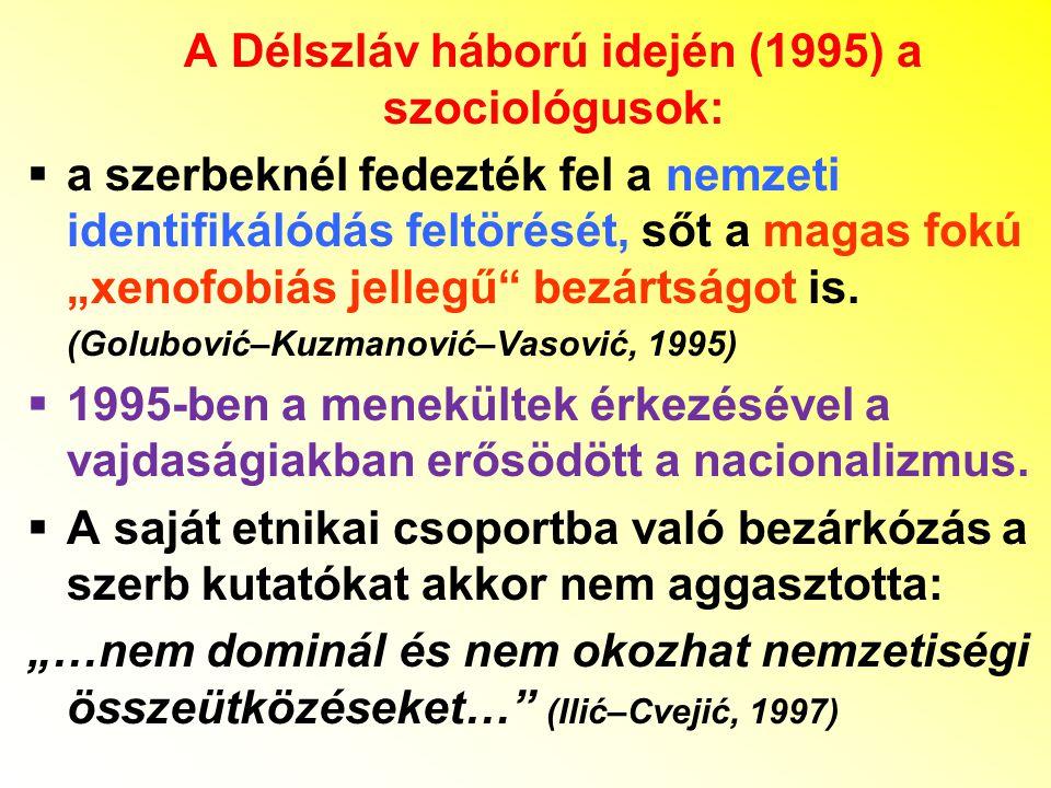 """A Délszláv háború idején (1995) a szociológusok:  a szerbeknél fedezték fel a nemzeti identifikálódás feltörését, sőt a magas fokú """"xenofobiás jelleg"""