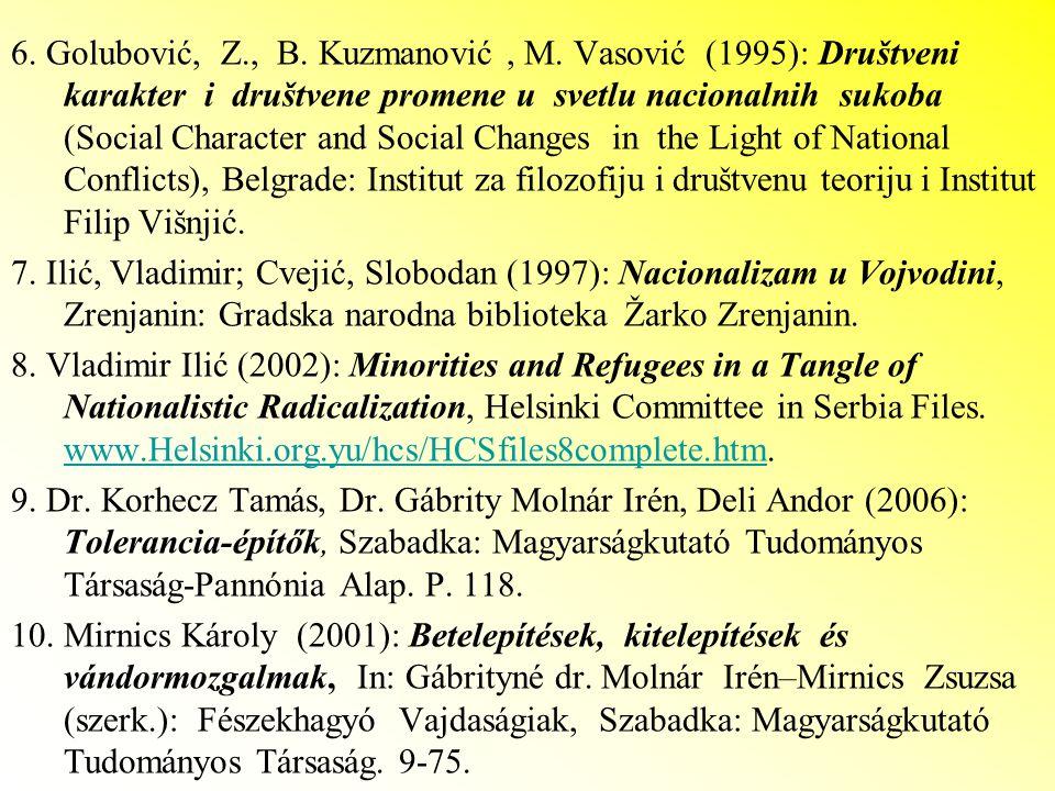 6. Golubović, Z., B. Kuzmanović, M. Vasović (1995): Društveni karakter i društvene promene u svetlu nacionalnih sukoba (Social Character and Social Ch