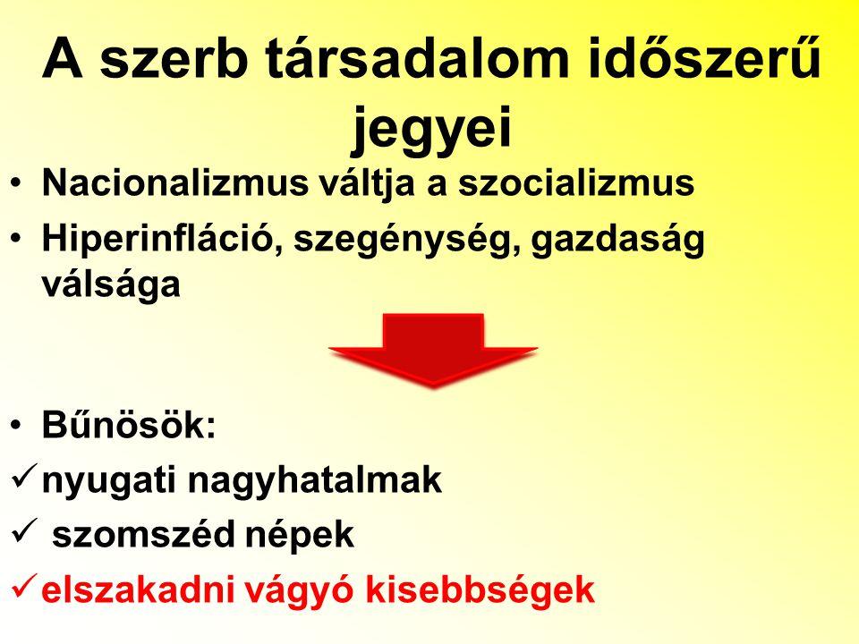 Szerb társadalom szembetűnő kulturális és társadalmi különbségei Milošević szerepe Szerb Tudományos és Művészeti Akadémia centenáriumára írodott memorandum
