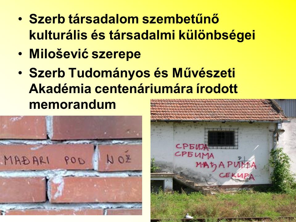 Szerb társadalom szembetűnő kulturális és társadalmi különbségei Milošević szerepe Szerb Tudományos és Művészeti Akadémia centenáriumára írodott memor