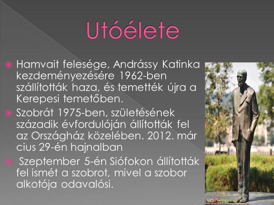  Hamvait felesége, Andrássy Katinka kezdeményezésére 1962-ben szállították haza, és temették újra a Kerepesi temetőben.  Szobrát 1975-ben, születésé
