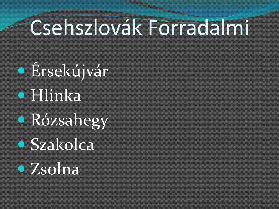 Csehszlovák Forradalmi Érsekújvár Hlinka Rózsahegy Szakolca Zsolna