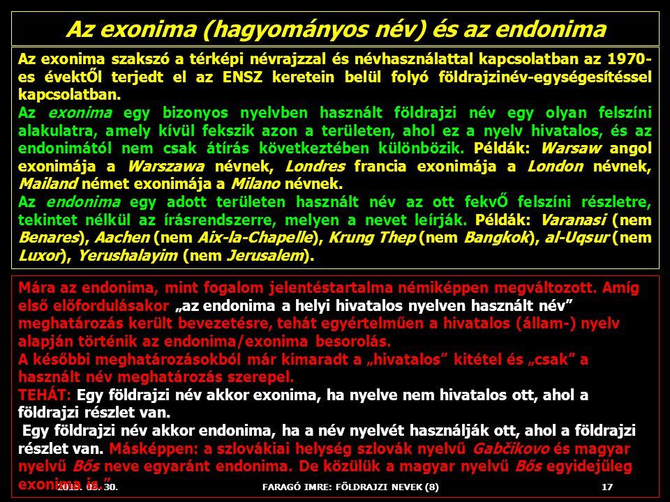 2015. 03. 30.FARAGÓ IMRE: FÖLDRAJZI NEVEK (8)17 Az exonima szakszó a térképi névrajzzal és névhasználattal kapcsolatban az 1970- es évektŐl terjedt el