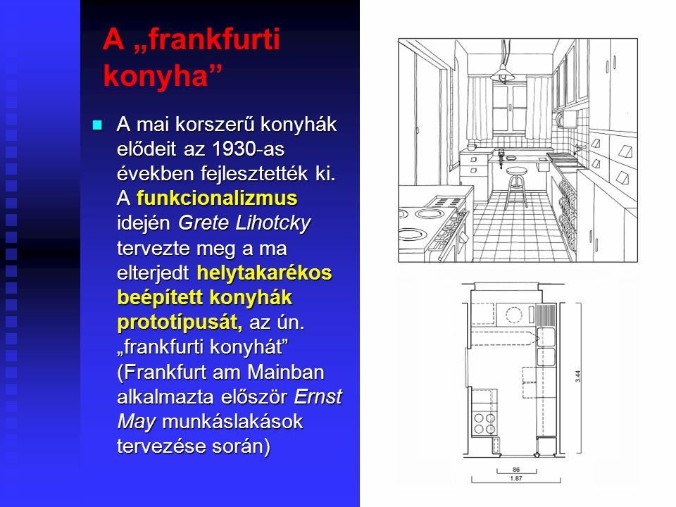 26 A konyha értelmezése és tartozékai Az ételkészítés hagyományos helye a konyha, azonban ma gyakran nem alakítanak ki külön helyiséget az ételkészítés számára.