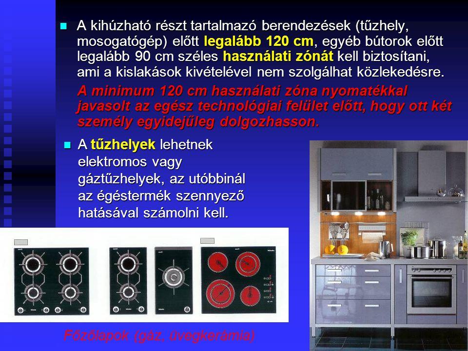 29 Követelmények, ajánlások A leginkább használt munkafelület a tűzhely és a mosogató között van: mérete soha ne legyen 60x60 cm- nél kisebb A leginkább használt munkafelület a tűzhely és a mosogató között van: mérete soha ne legyen 60x60 cm- nél kisebb A tűzhely másik oldalán levő felület az elkészült ételek lerakására szolgál (ne legyen a tűzhely a sarokban!) A tűzhely másik oldalán levő felület az elkészült ételek lerakására szolgál (ne legyen a tűzhely a sarokban!) A mosogató túloldalán lévő munkafelület a főzési nyersanyagok előkészítésére (tisztítására) való A mosogató túloldalán lévő munkafelület a főzési nyersanyagok előkészítésére (tisztítására) való Az étkezés utáni mosogatás menetének iránya fordított: a feldolgozó felületen történik az edények összegyűjtése, a mosogatóban az első medencében a mosogatószeres elmosása, a második medencében az öblítése, majd az edények szárítása és elrakása Az étkezés utáni mosogatás menetének iránya fordított: a feldolgozó felületen történik az edények összegyűjtése, a mosogatóban az első medencében a mosogatószeres elmosása, a második medencében az öblítése, majd az edények szárítása és elrakása A méretkoordinált beépített elemek egységesen 60 cm mélyek, az alsó tárolók pulttal 85 (-90) cm magasak, a felső tárolók alsó széle 135 cm magasságban van, felső élük magassága kötetlen (akár a mennyezetig is kiegészíthető) A méretkoordinált beépített elemek egységesen 60 cm mélyek, az alsó tárolók pulttal 85 (-90) cm magasak, a felső tárolók alsó széle 135 cm magasságban van, felső élük magassága kötetlen (akár a mennyezetig is kiegészíthető)