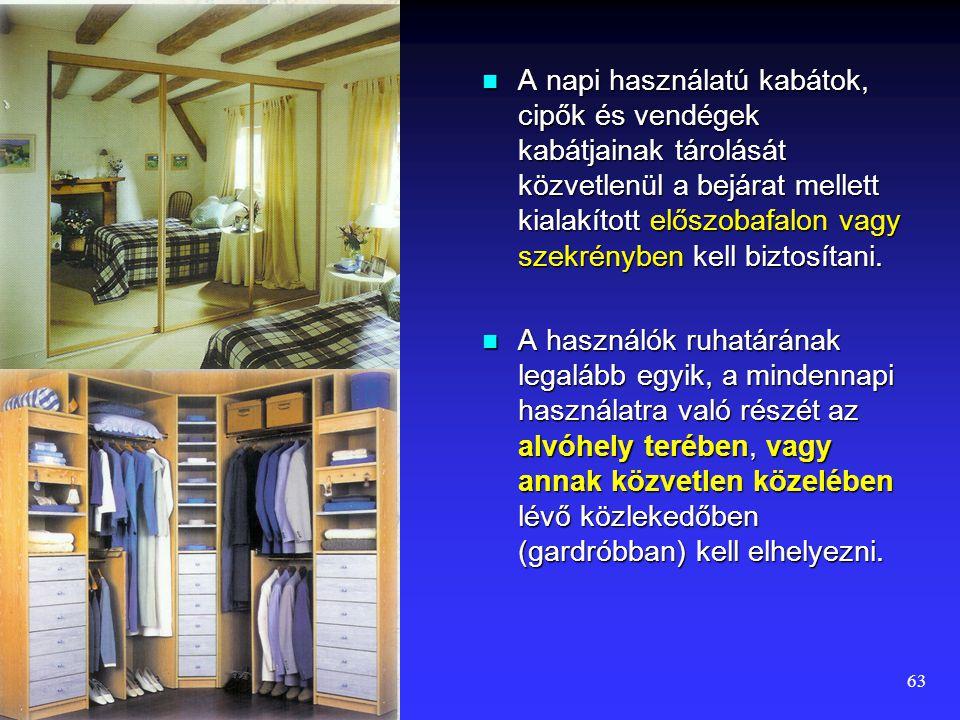 62 A közös időtöltés, az egyéni tevékenységek, a háztartási munkák tároló bútorainak helyigényét az előzőekben tárgyaltuk.