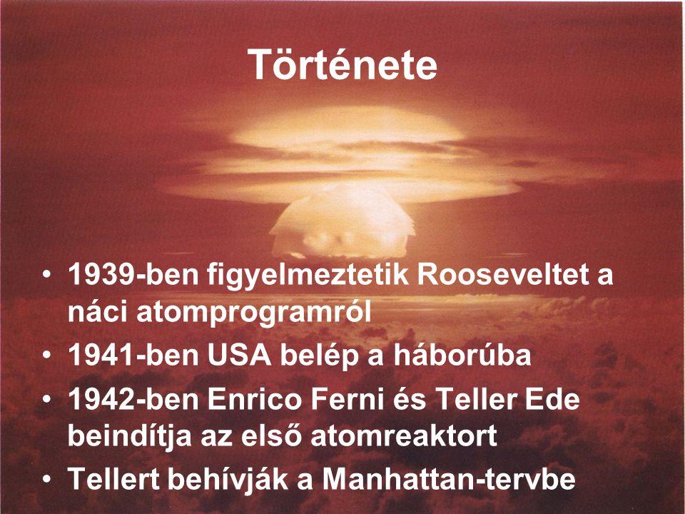 Története 1939-ben figyelmeztetik Rooseveltet a náci atomprogramról 1941-ben USA belép a háborúba 1942-ben Enrico Ferni és Teller Ede beindítja az első atomreaktort Tellert behívják a Manhattan-tervbe