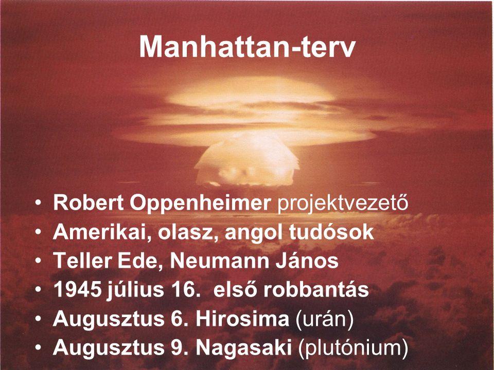 Manhattan-terv Robert Oppenheimer projektvezető Amerikai, olasz, angol tudósok Teller Ede, Neumann János 1945 július 16.
