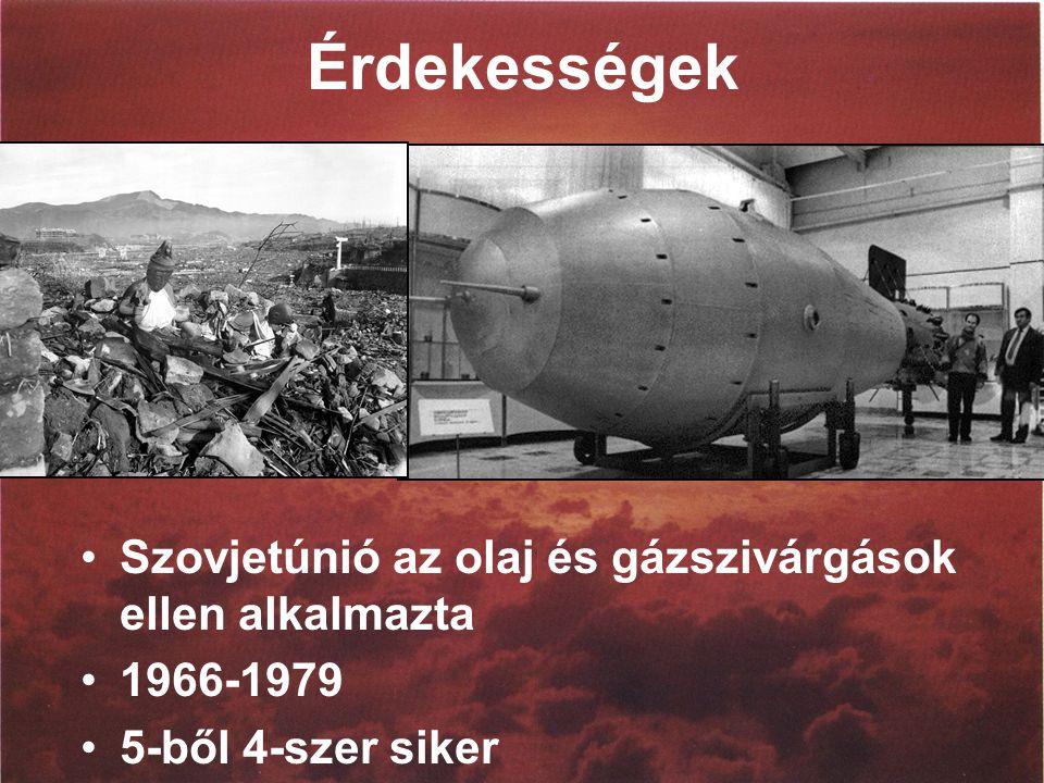 Érdekességek Szovjetúnió az olaj és gázszivárgások ellen alkalmazta 1966-1979 5-ből 4-szer siker