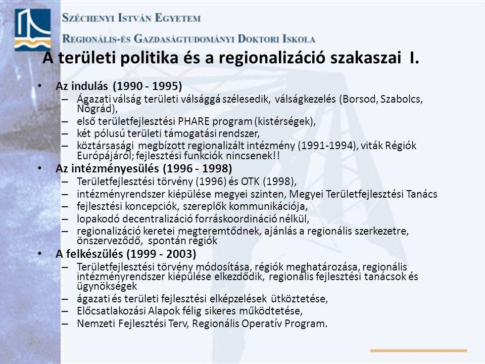 A területi politika és a regionalizáció szakaszai I. Az indulás (1990 - 1995) – Ágazati válság területi válsággá szélesedik, válságkezelés (Borsod, Sz