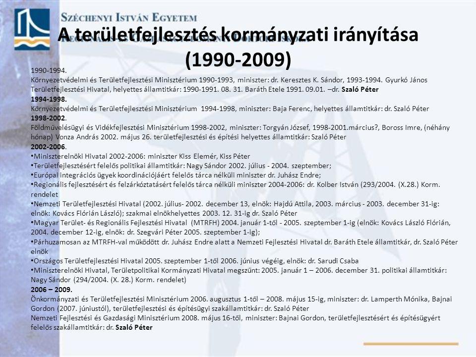 1990-1994. Környezetvédelmi és Területfejlesztési Minisztérium 1990-1993, miniszter: dr. Keresztes K. Sándor, 1993-1994. Gyurkó János Területfejleszté
