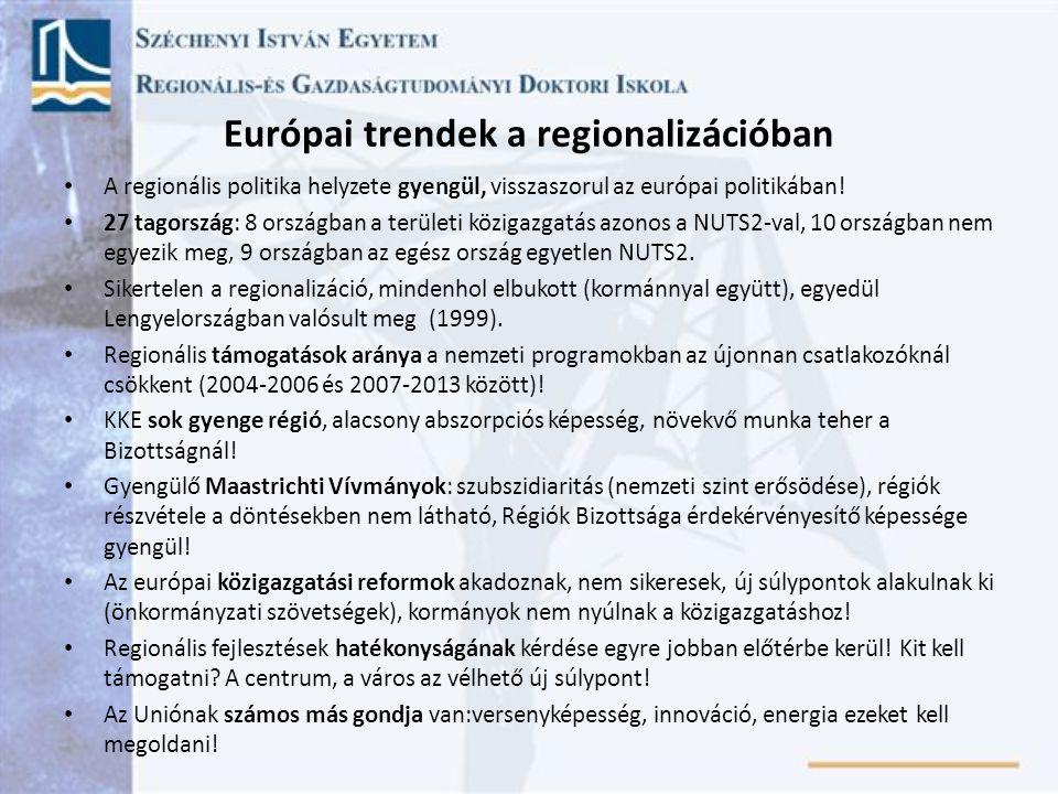 Európai trendek a regionalizációban A regionális politika helyzete gyengül, visszaszorul az európai politikában! 27 tagország: 8 országban a területi