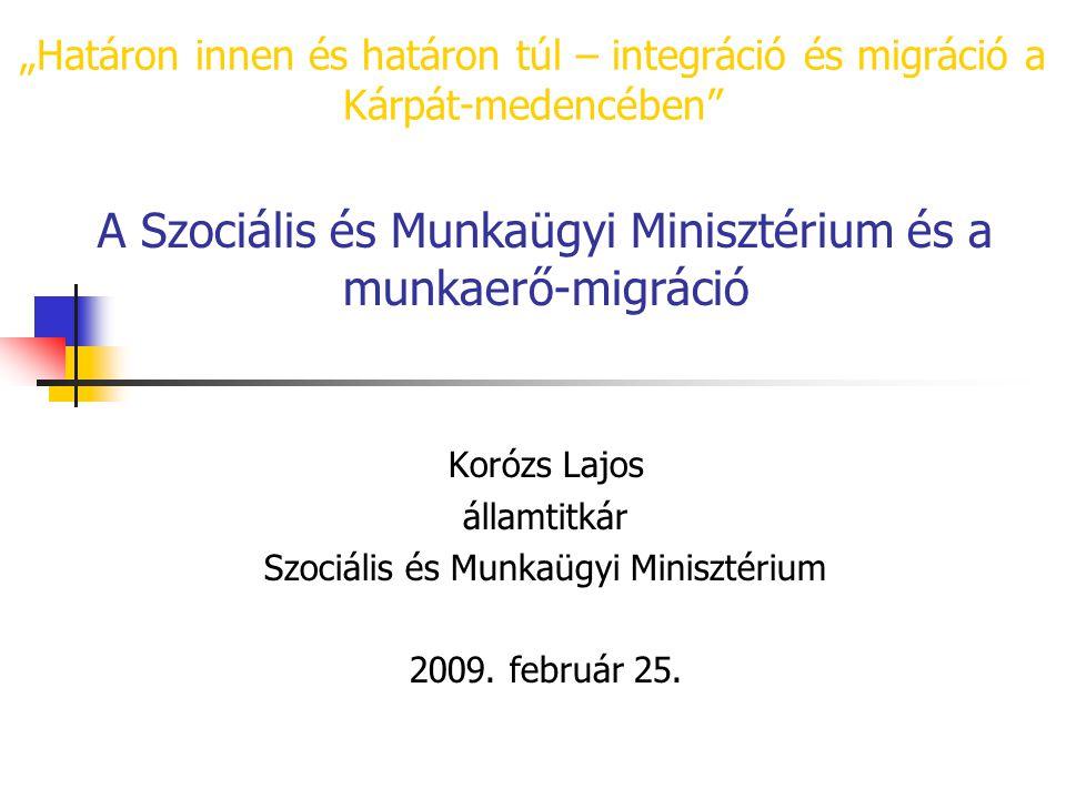 """""""Határon innen és határon túl – integráció és migráció a Kárpát-medencében A Szociális és Munkaügyi Minisztérium és a munkaerő-migráció Korózs Lajos államtitkár Szociális és Munkaügyi Minisztérium 2009."""