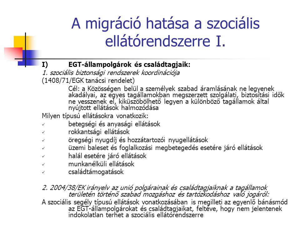 A migráció hatása a szociális ellátórendszerre I. I)EGT-állampolgárok és családtagjaik: 1. szociális biztonsági rendszerek koordinációja (1408/71/EGK