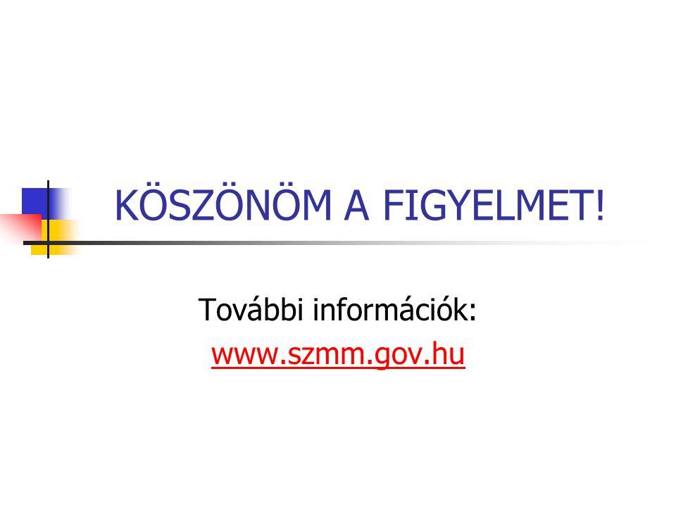 KÖSZÖNÖM A FIGYELMET! További információk: www.szmm.gov.hu