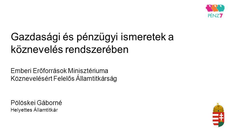Gazdasági és pénzügyi ismeretek a köznevelés rendszerében Emberi Erőforrások Minisztériuma Köznevelésért Felelős Államtitkárság Pölöskei Gáborné Helye