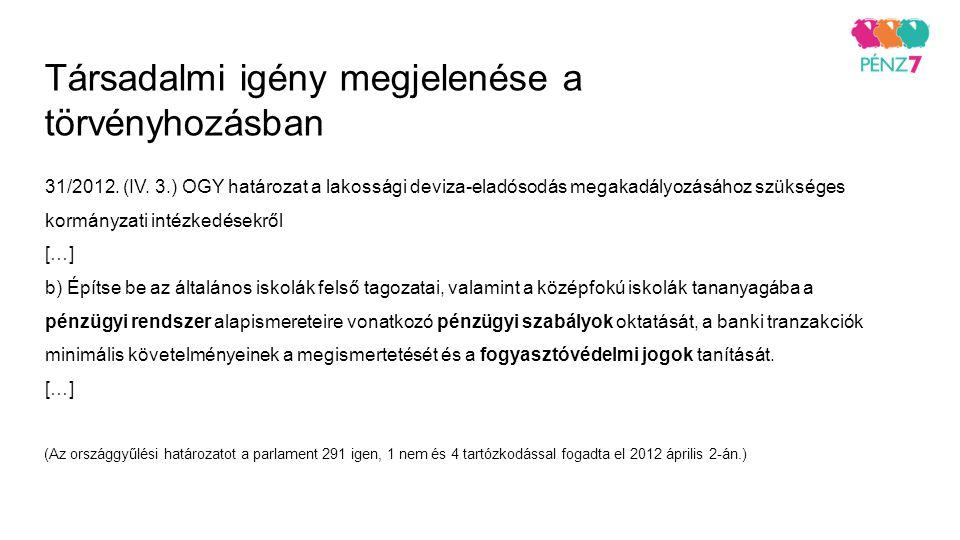 Társadalmi igény megjelenése a törvényhozásban 31/2012. (IV. 3.) OGY határozat a lakossági deviza-eladósodás megakadályozásához szükséges kormányzati