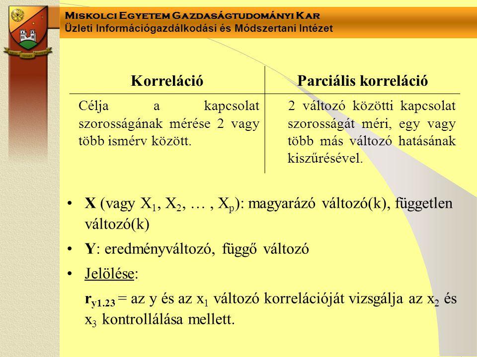 Miskolci Egyetem Gazdaságtudományi Kar Üzleti Információgazdálkodási és Módszertani Intézet X (vagy X 1, X 2, …, X p ): magyarázó változó(k), függetle