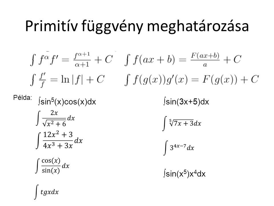 Primitív függvény meghatározása ∫sin 5 (x)cos(x)dx Példa: ∫sin(3x+5)dx ∫sin(x 5 )x 4 dx