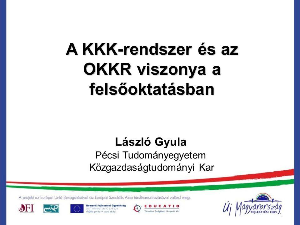 1 A KKK-rendszer és az OKKR viszonya a felsőoktatásban László Gyula Pécsi Tudományegyetem Közgazdaságtudományi Kar