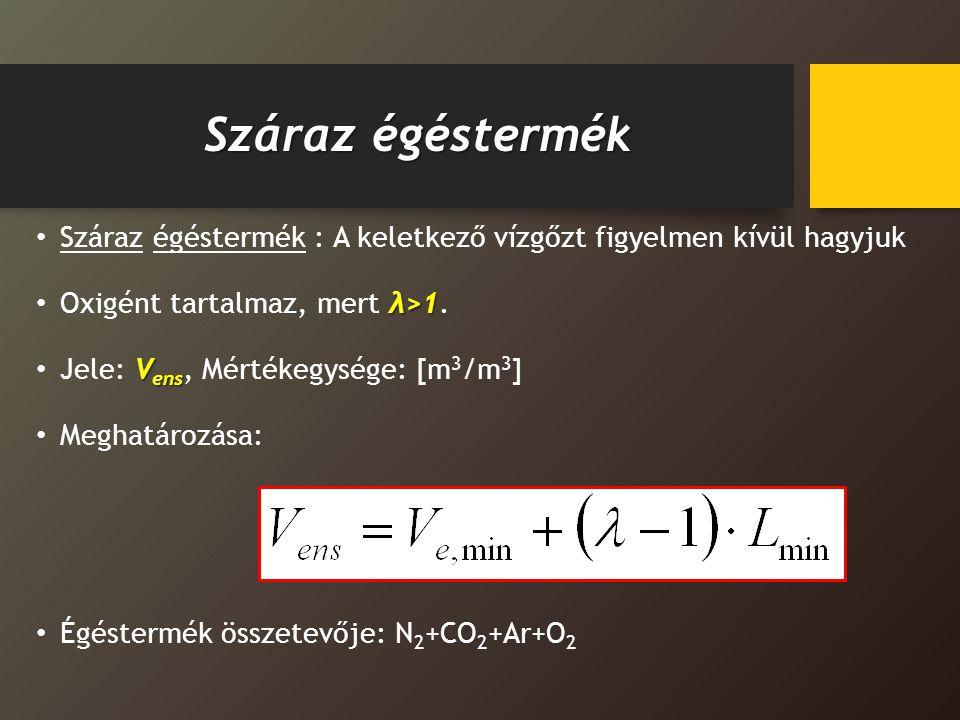 Száraz égéstermék Száraz égéstermék : A keletkező vízgőzt figyelmen kívül hagyjuk λ>1 Oxigént tartalmaz, mert λ>1. V ens Jele: V ens, Mértékegysége: [