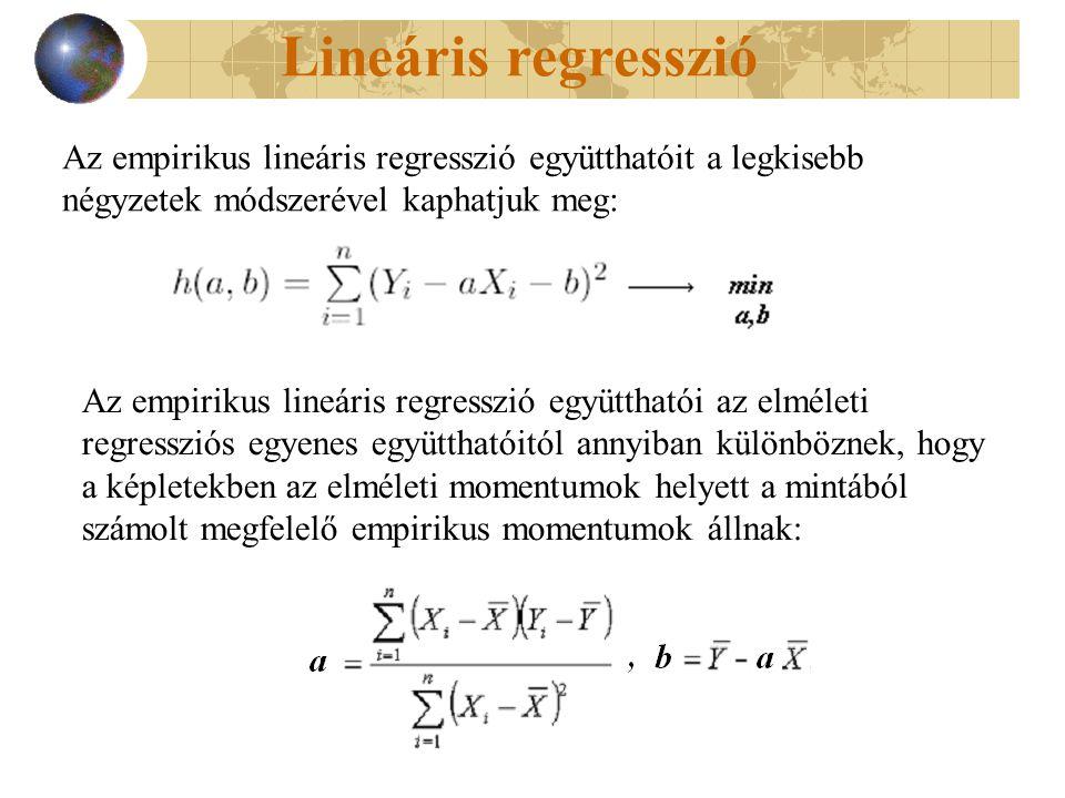 Lineáris regresszió Az empirikus lineáris regresszió együtthatói az elméleti regressziós egyenes együtthatóitól annyiban különböznek, hogy a képletekben az elméleti momentumok helyett a mintából számolt megfelelő empirikus momentumok állnak: Az empirikus lineáris regresszió együtthatóit a legkisebb négyzetek módszerével kaphatjuk meg: