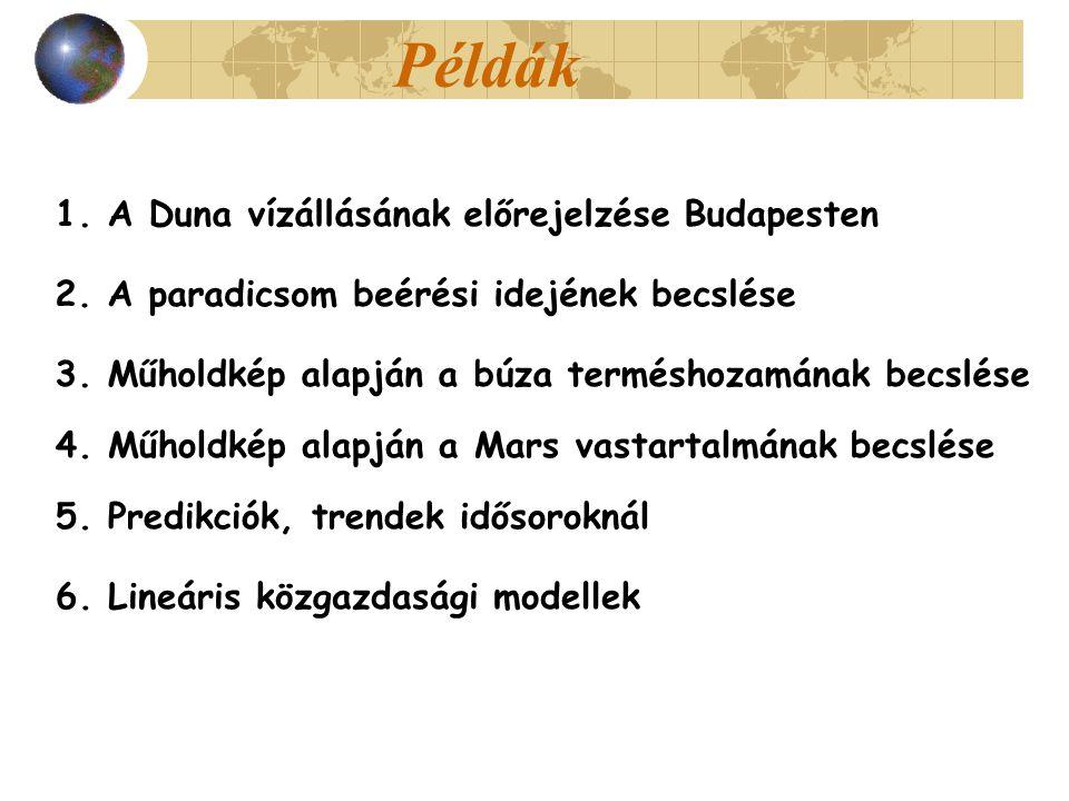 Példák 1. A Duna vízállásának előrejelzése Budapesten 2. A paradicsom beérési idejének becslése 3. Műholdkép alapján a búza terméshozamának becslése 4