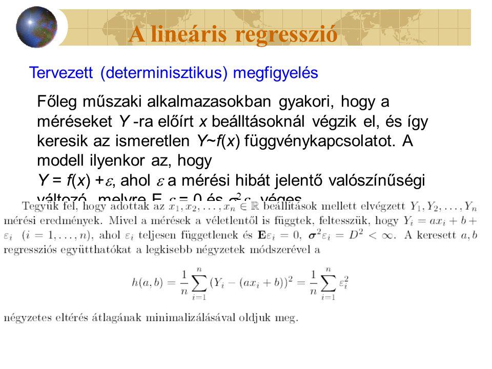 Tervezett (determinisztikus) megfigyelés Főleg műszaki alkalmazasokban gyakori, hogy a méréseket Y -ra előírt x beálltásoknál végzik el, és így keresik az ismeretlen Y~f(x) függvénykapcsolatot.