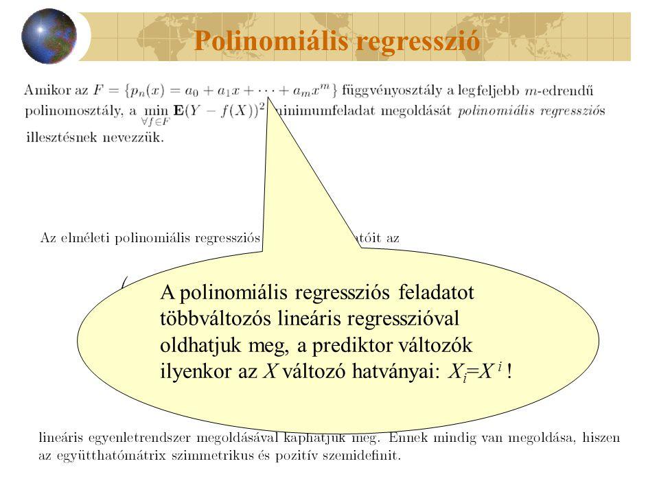 Polinomiális regresszió A polinomiális regressziós feladatot többváltozós lineáris regresszióval oldhatjuk meg, a prediktor változók ilyenkor az X vál