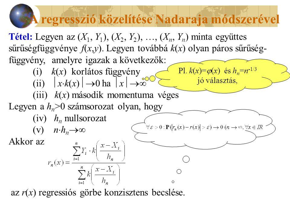 A regresszió közelítése Nadaraja módszerével Tétel: Legyen az (X 1, Y 1 ), (X 2, Y 2 ), …, (X n, Y n ) minta együttes sűrűségfüggvénye f(x,y). Legyen
