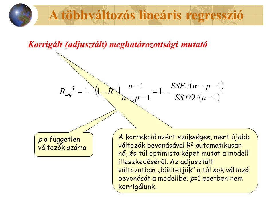 A többváltozós lineáris regresszió Korrigált (adjusztált) meghatározottsági mutató p a független változók száma A korrekció azért szükséges, mert újabb változók bevonásával R 2 automatikusan nő, és túl optimista képet mutat a modell illeszkedéséről.