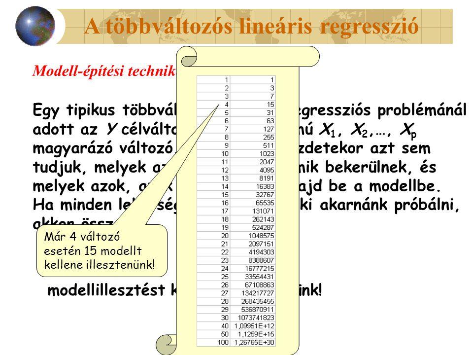 A többváltozós lineáris regresszió Modell-építési technikák Egy tipikus többváltozós lineáris regressziós problémánál adott az Y célváltozó és nagy számú X 1, X 2,…, X p magyarázó változó.