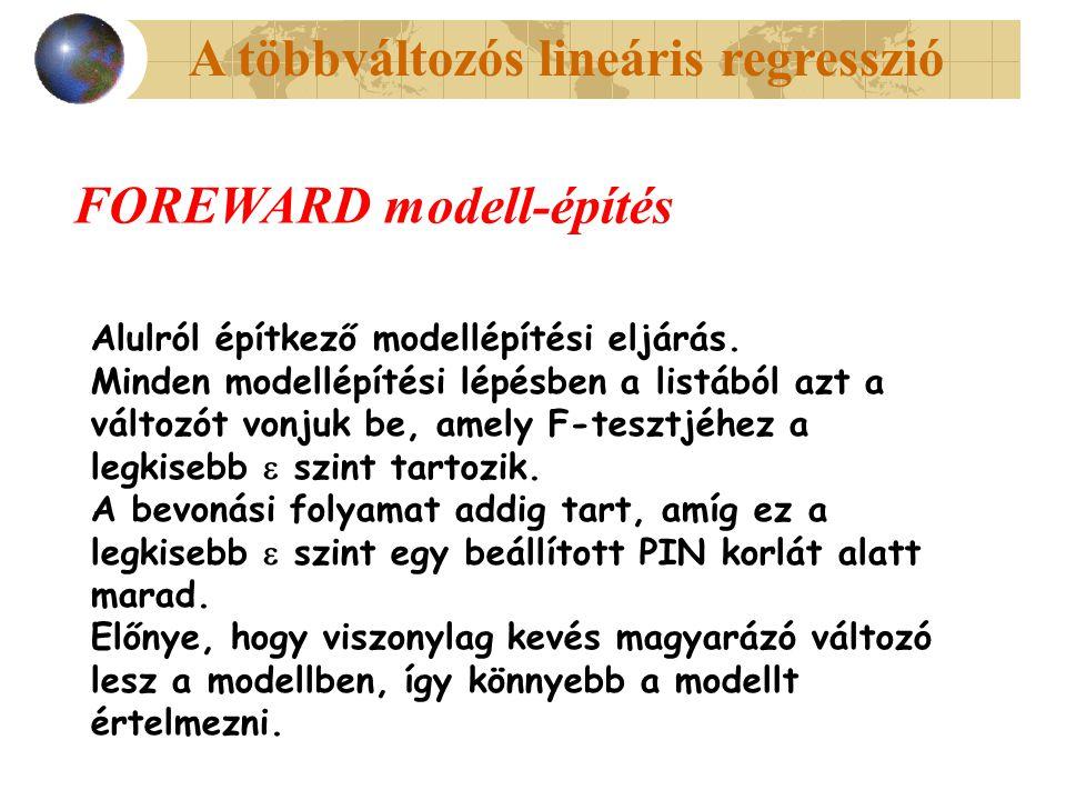 A többváltozós lineáris regresszió FOREWARD modell-építés Alulról építkező modellépítési eljárás. Minden modellépítési lépésben a listából azt a válto