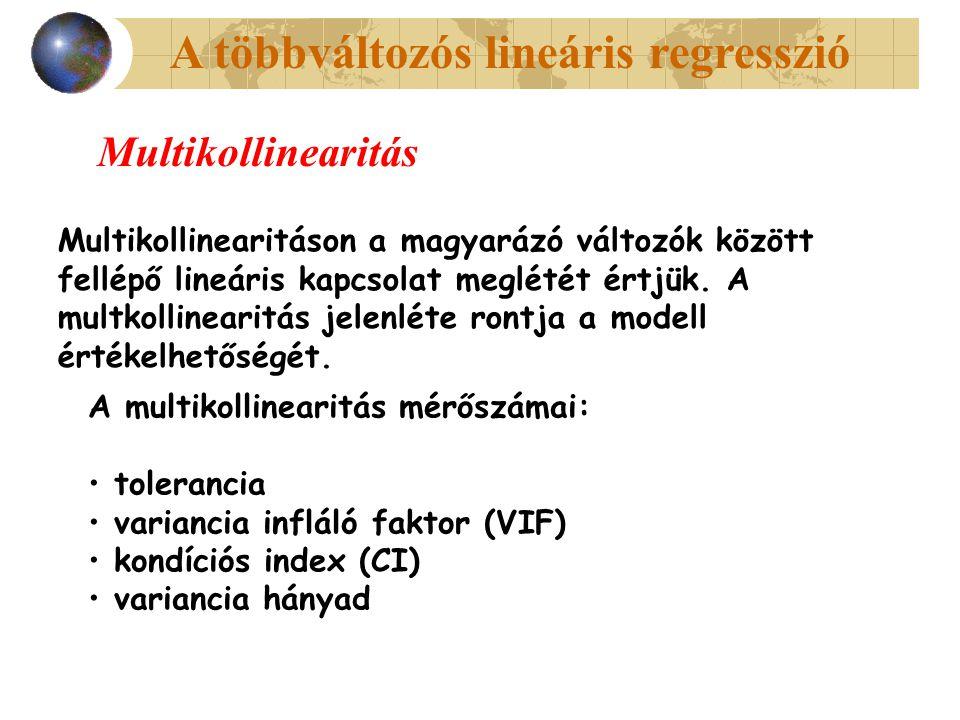 A többváltozós lineáris regresszió Multikollinearitás Multikollinearitáson a magyarázó változók között fellépő lineáris kapcsolat meglétét értjük.