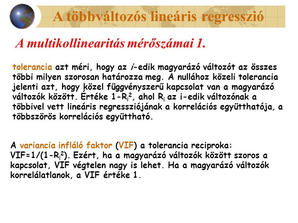 A többváltozós lineáris regresszió A multikollinearitás mérőszámai 1. tolerancia azt méri, hogy az i-edik magyarázó változót az összes többi milyen sz