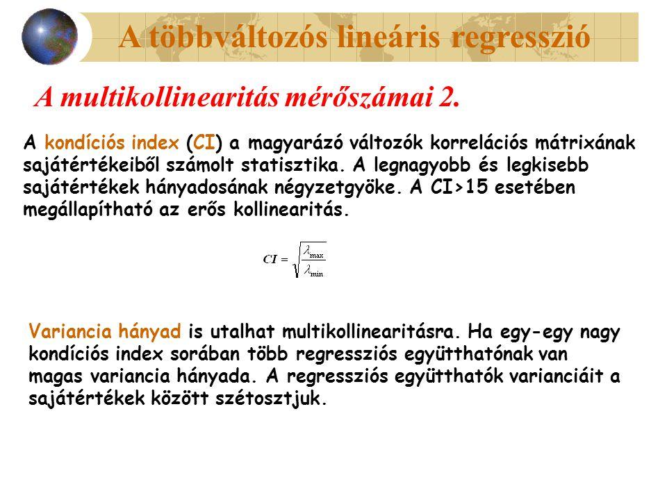 A többváltozós lineáris regresszió A multikollinearitás mérőszámai 2. A kondíciós index (CI) a magyarázó változók korrelációs mátrixának sajátértékeib