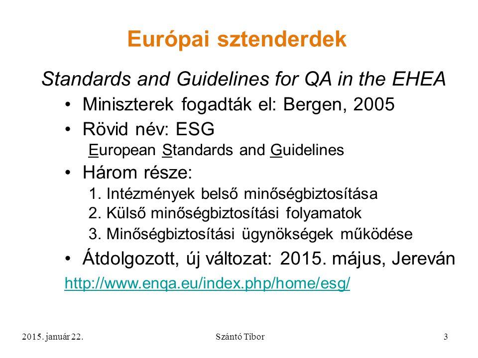 Standards and Guidelines for QA in the EHEA Miniszterek fogadták el: Bergen, 2005 Rövid név: ESG European Standards and Guidelines Három része: 1.Intézmények belső minőségbiztosítása 2.Külső minőségbiztosítási folyamatok 3.Minőségbiztosítási ügynökségek működése Átdolgozott, új változat: 2015.