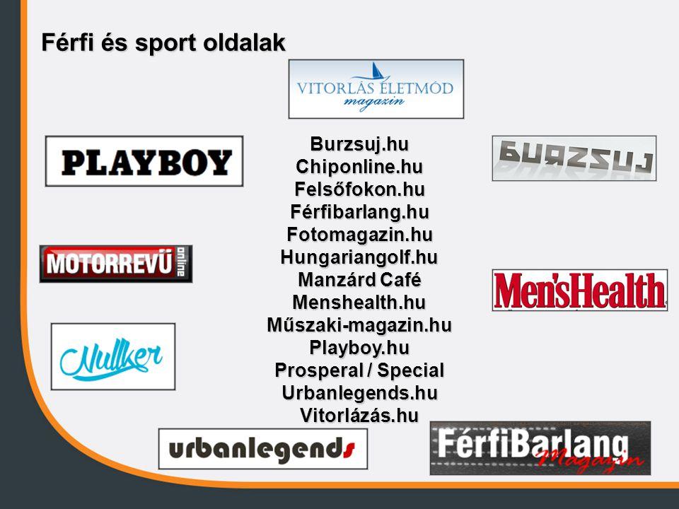 Férfi és sport oldalak Burzsuj.hu Chiponline.hu Felsőfokon.hu Férfibarlang.hu Fotomagazin.hu Hungariangolf.hu Manzárd Café Menshealth.hu Műszaki-magaz