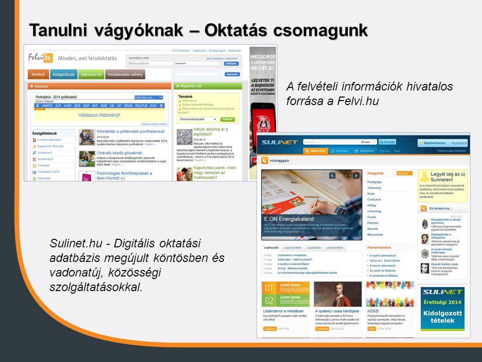 Tanulni vágyóknak – Oktatás csomagunk A felvételi információk hivatalos forrása a Felvi.hu Sulinet.hu - Digitális oktatási adatbázis megújult köntösbe