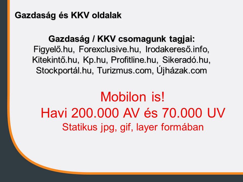 Gazdaság és KKV oldalak Gazdaság / KKV csomagunk tagjai: Figyelő.hu, Forexclusive.hu, Irodakereső.info, Kitekintő.hu, Kp.hu, Profitline.hu, Sikeradó.hu, Stockportál.hu, Turizmus.com, Újházak.com Mobilon is.