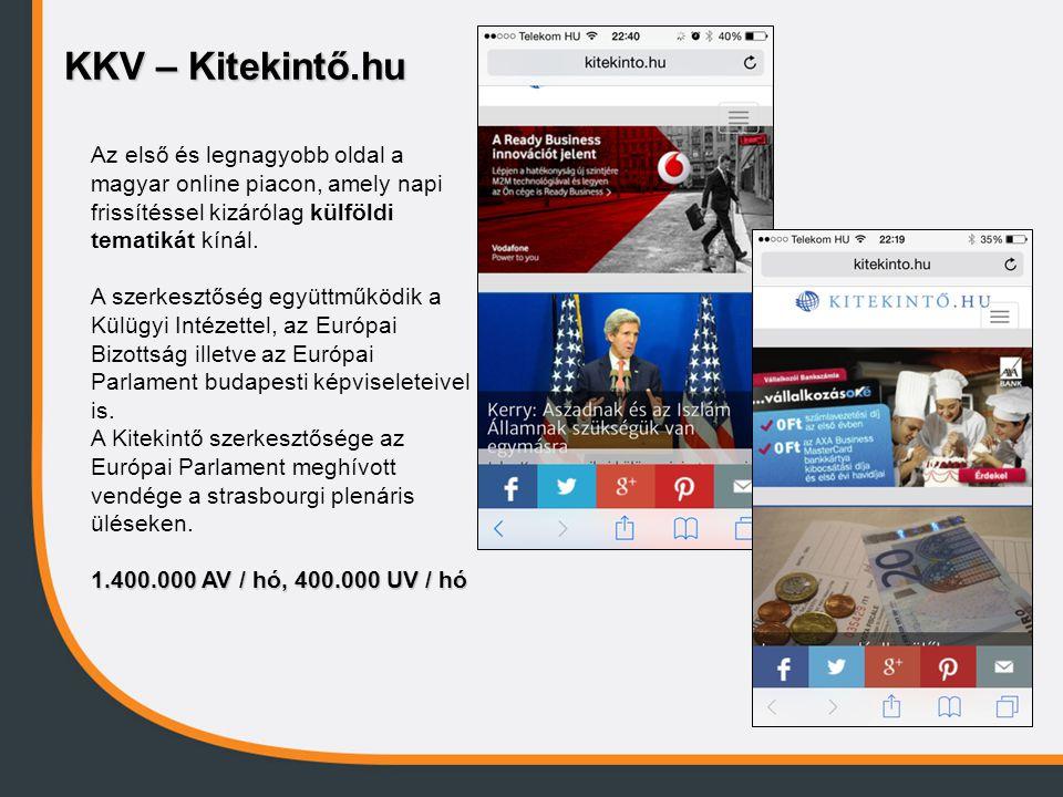 KKV – Kitekintő.hu Az első és legnagyobb oldal a magyar online piacon, amely napi frissítéssel kizárólag külföldi tematikát kínál. A szerkesztőség egy