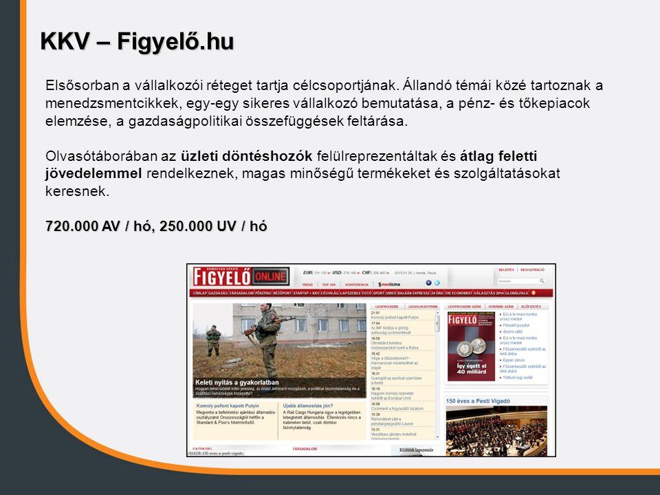KKV – Figyelő.hu Elsősorban a vállalkozói réteget tartja célcsoportjának. Állandó témái közé tartoznak a menedzsmentcikkek, egy-egy sikeres vállalkozó
