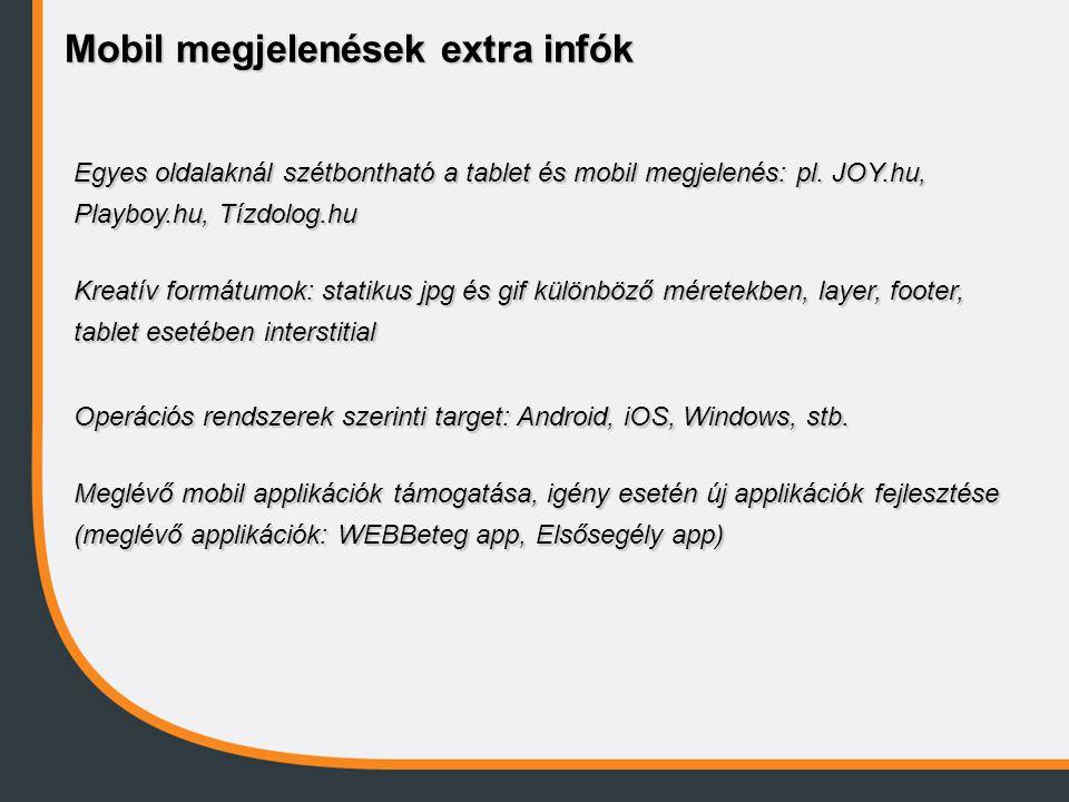Mobil megjelenések extra infók Egyes oldalaknál szétbontható a tablet és mobil megjelenés: pl. JOY.hu, Playboy.hu, Tízdolog.hu Kreatív formátumok: sta