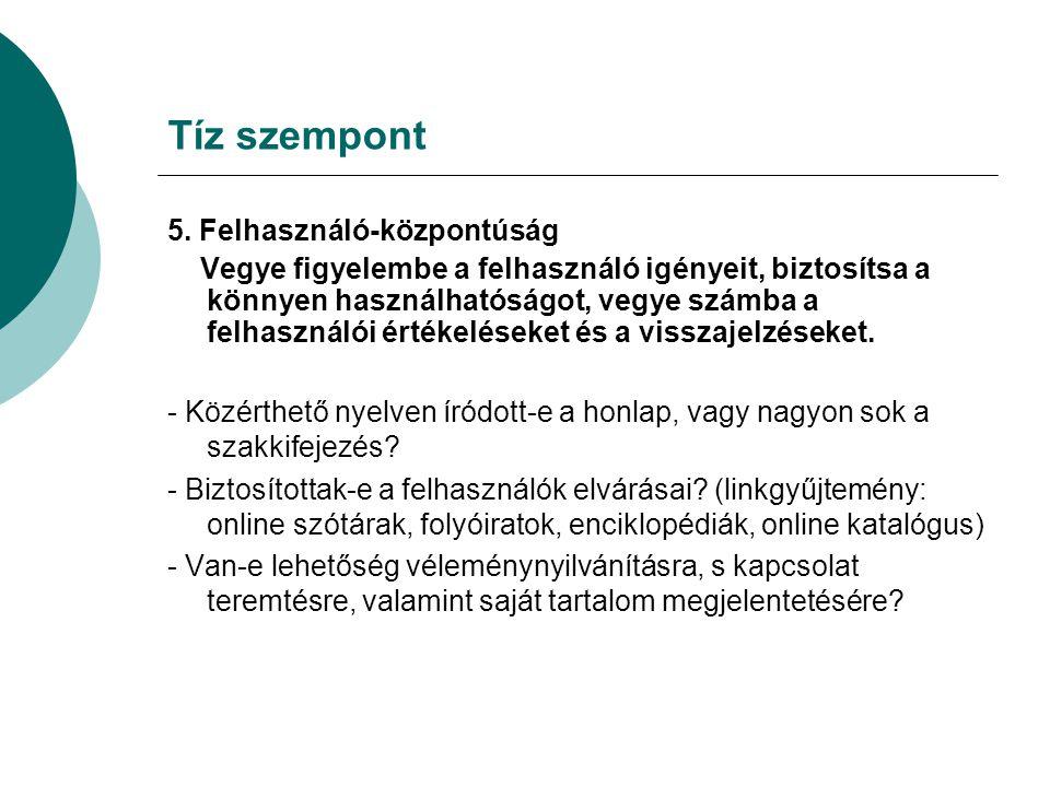 Tíz szempont 5.