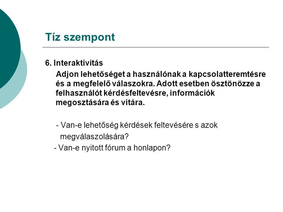 Tíz szempont 6.
