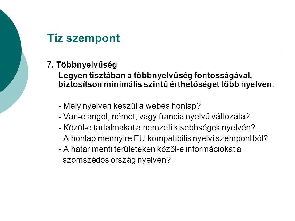 Tíz szempont 7.